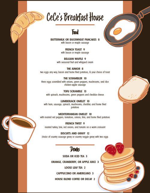 Breakfast House Menu