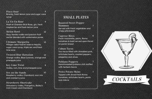 Chalkboard Cocktail Folded Menu