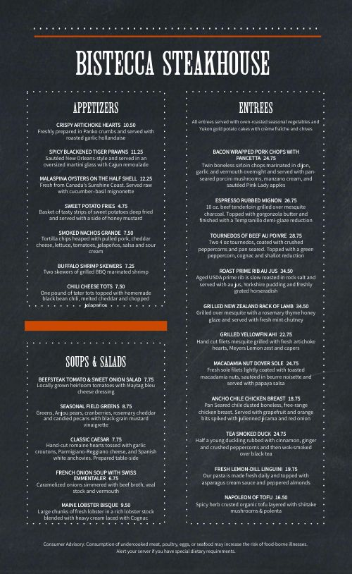 Simple Steakhouse Menu