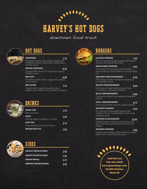 Hot Dog Menu