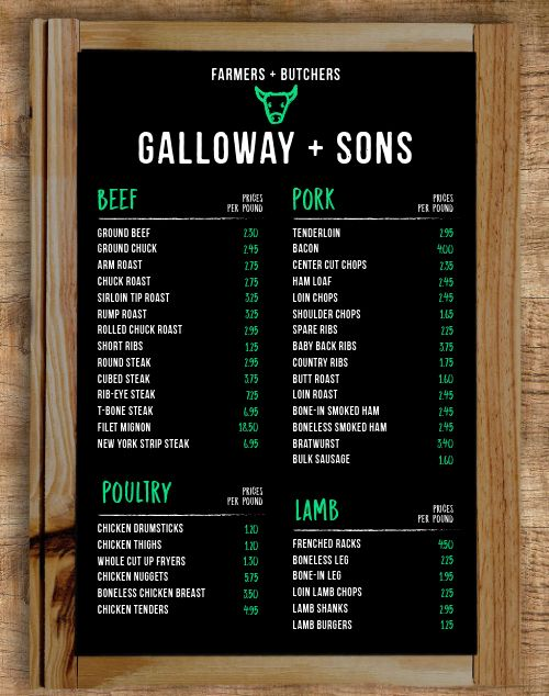 Butcher Shop Farmers Market Menu Poster