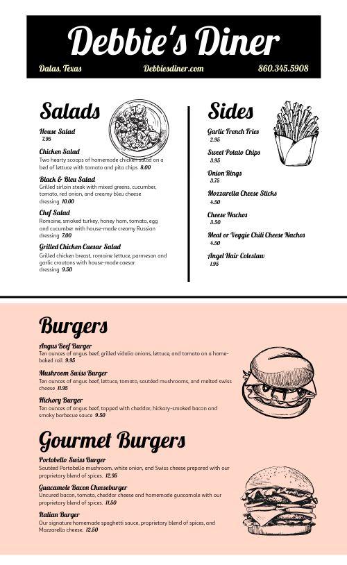 American Diner Style Menu