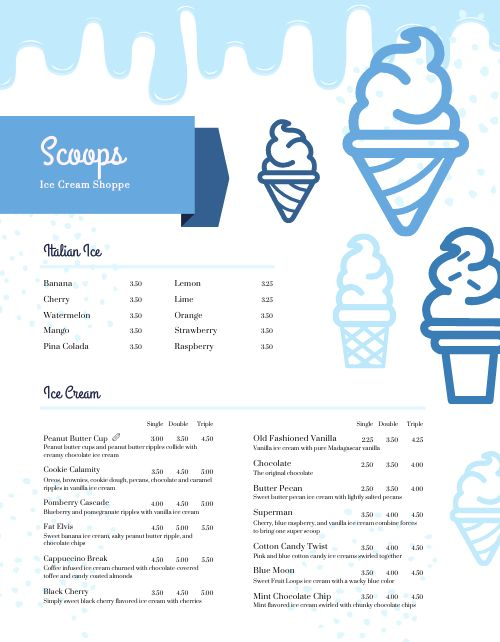 Ice Cream Shop Menu