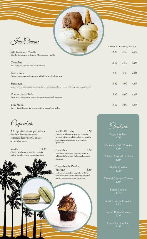 Tropical Dessert Menu
