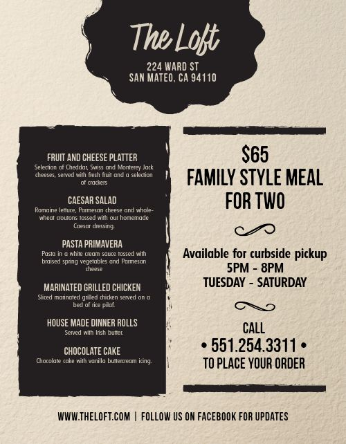 Limited Family Takeout Menu