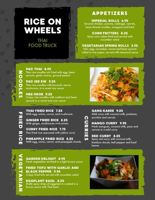 Thai Food Cart Menu Example