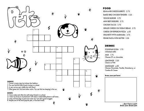 Kids Crossword Menu
