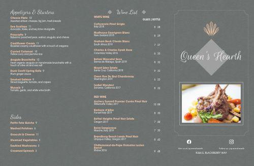 Royal Fine Dining Folded Menu