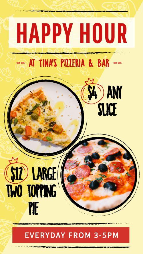 Happy Hour Pizza Instagram Story
