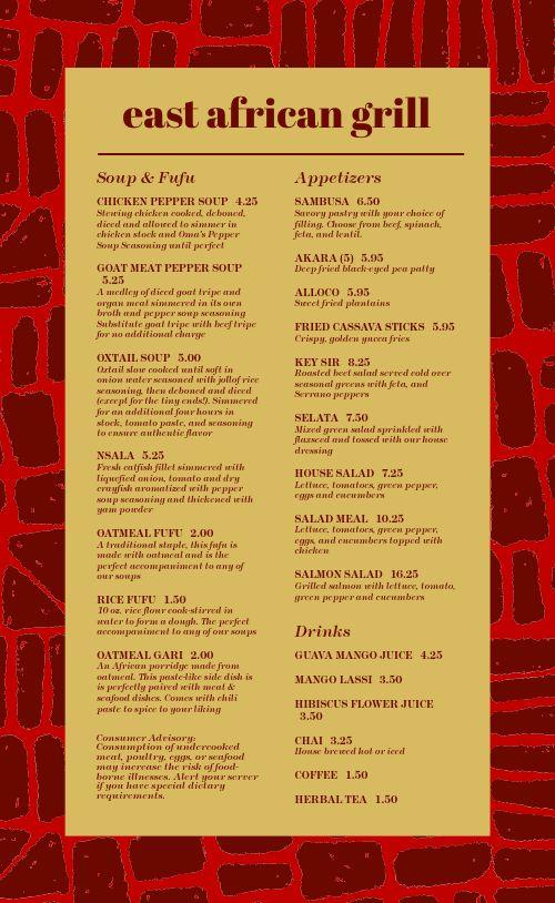 East African Grill Menu