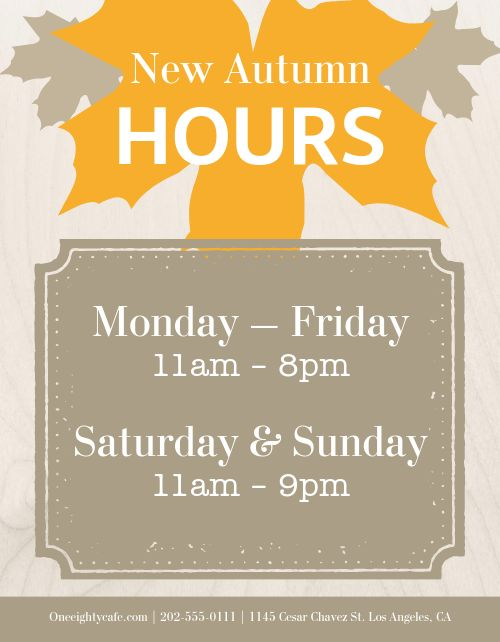 Hours Signage