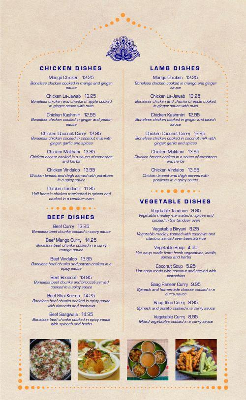 Authentic Indian Cuisine Menu