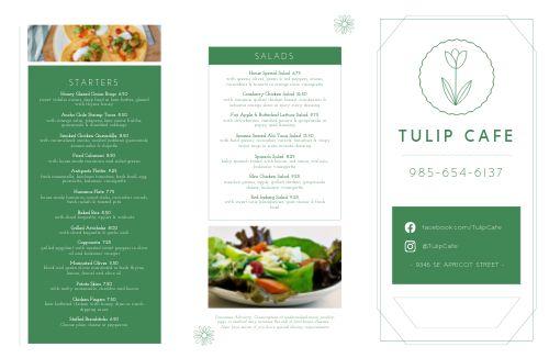 Cafe Tulip Folded Menu