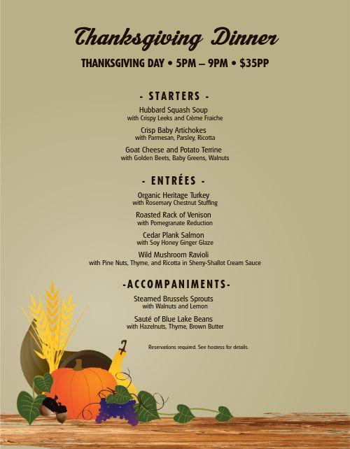 Thanksgiving Dinner Homestyle Menu