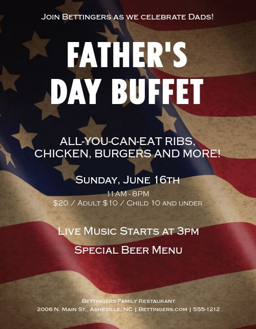Fathers Day Restaurant Flyer