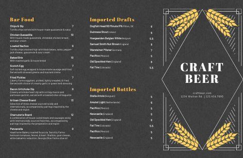Craft Beer Folded Menu