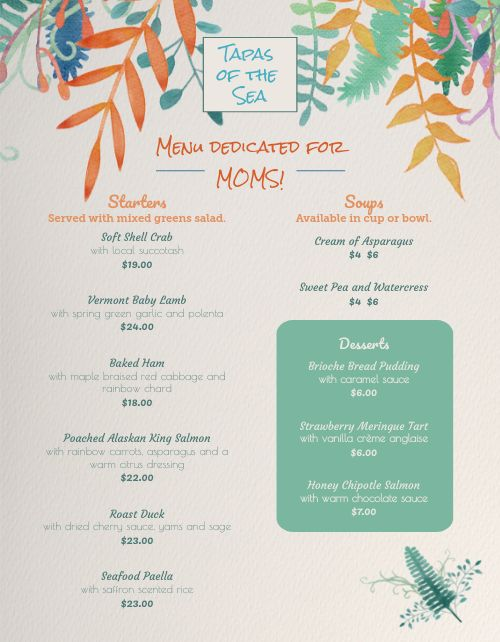 Mothers Day Seafood Menu