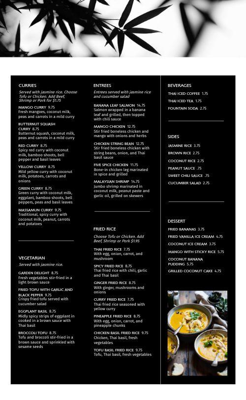 Thai Eatery Menu
