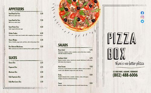 Local Pizza Takeout Menu