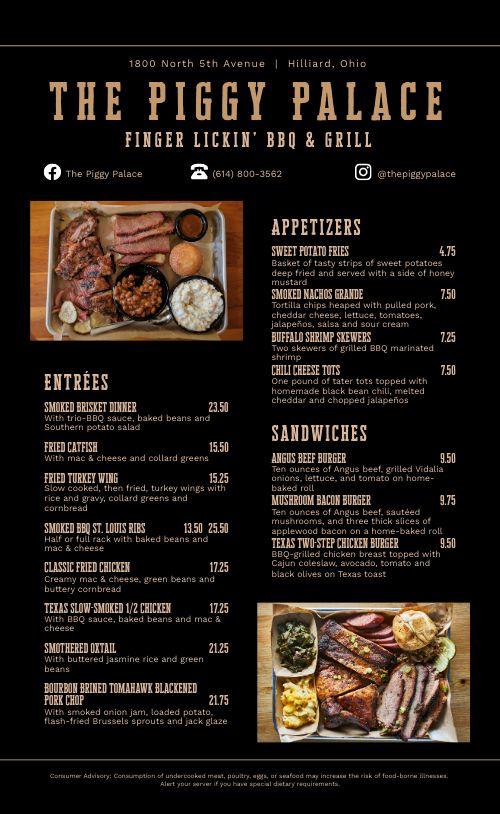 Southern Platter BBQ Menu