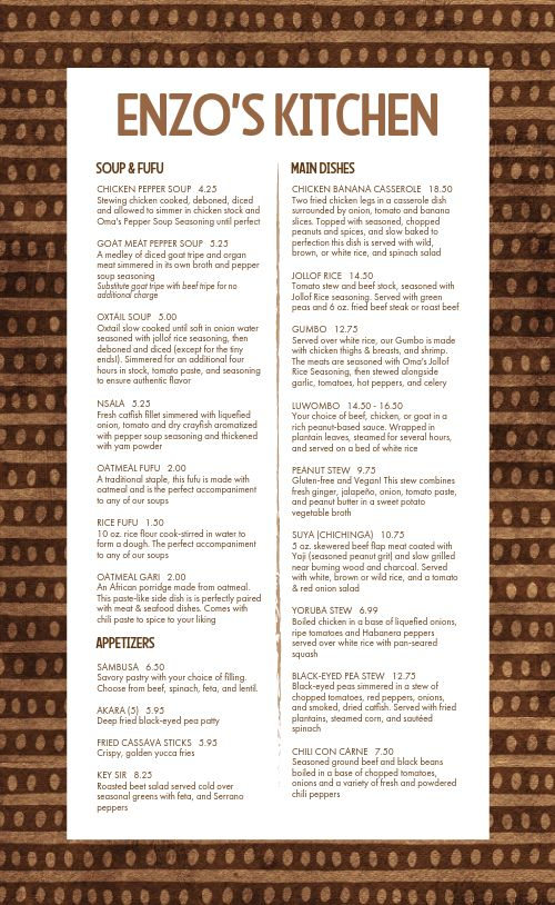African Kitchen Cuisine Menu