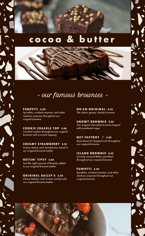 Chocolate Dessert Menu
