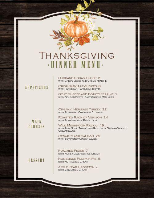 Framed Thanksgiving Menu