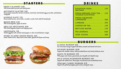 Burgers Digital Menu Board