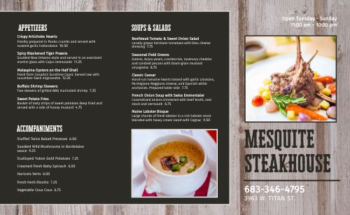 Traditional Steakhouse Takeout Menu