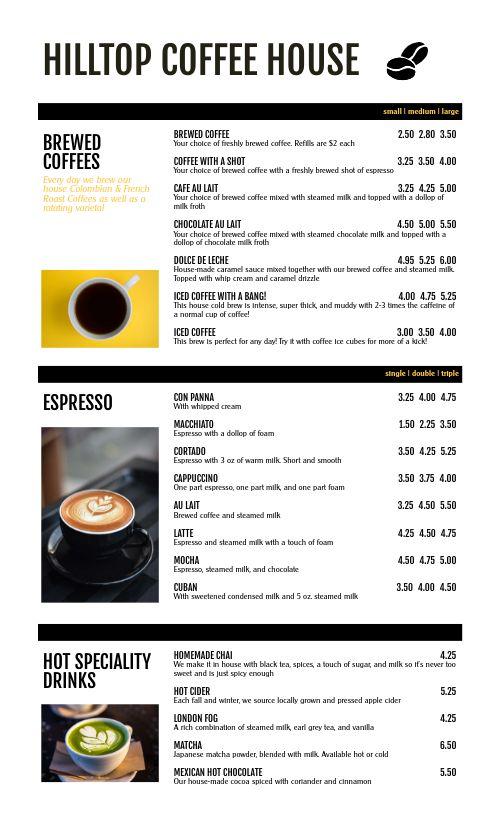 Contemporary Coffee Menu