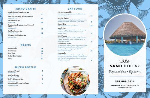 Beach Tropical Bar Folded Menu