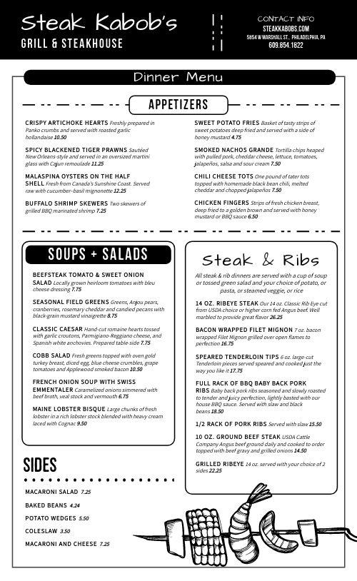 Steakhouse BBQ Menu
