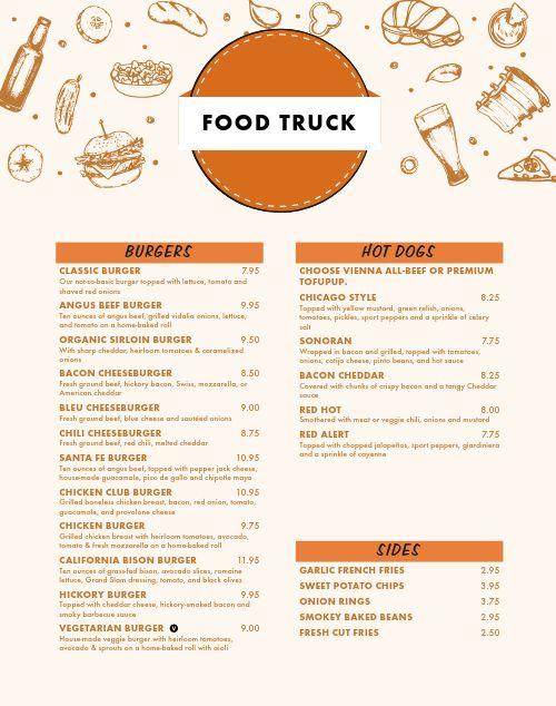 Burger Food Truck Menu Poster