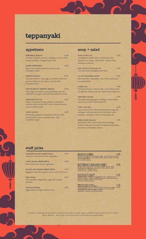 Cork Thai Menu