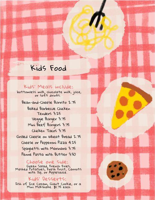Colorful Pizza Kids Menu
