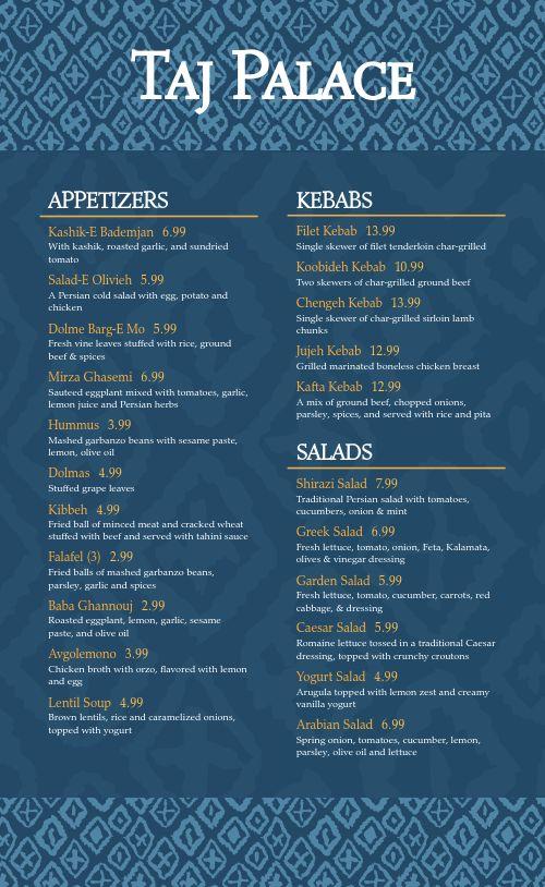 Middle Eastern Dinner Menu
