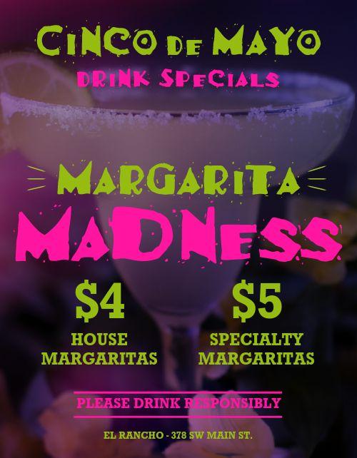 Cinco De Mayo Margaritas Specials Flyers