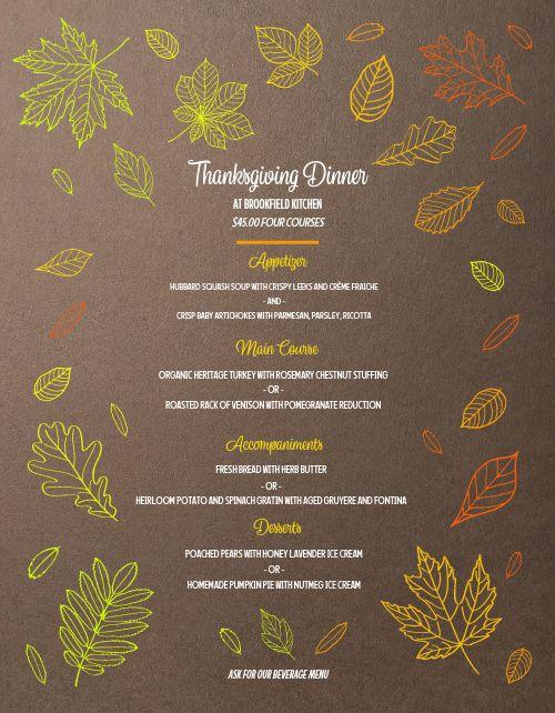 Colorful Thanksgiving Menu