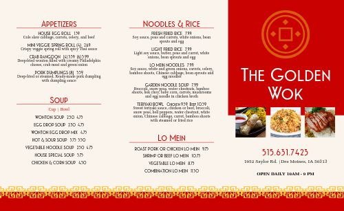Chinese Restaurant Takeout Menu