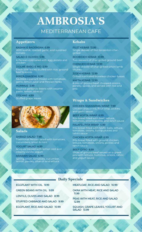 Greek Cafe Menu