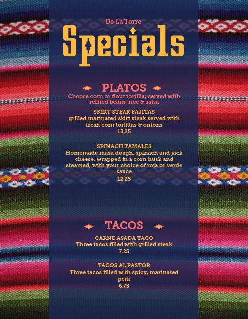 Mexican Specials Menu
