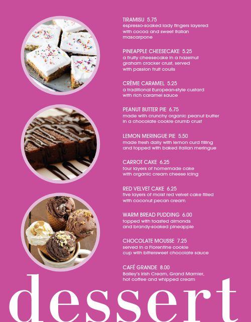 Dessert Cake Specials Menu