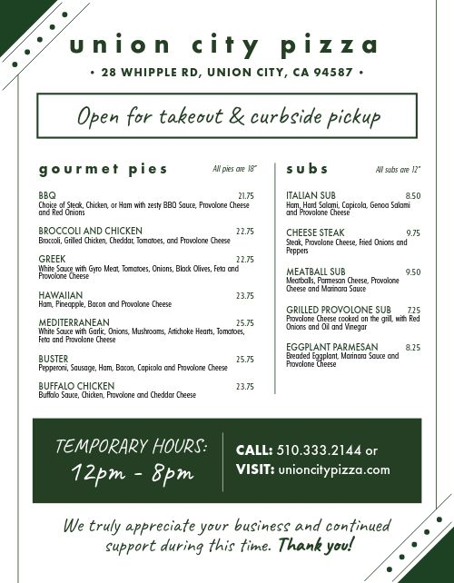 Delivery Hours Takeout Menu