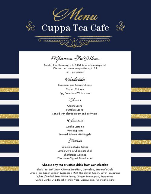 Classic Tea Cafe Menu
