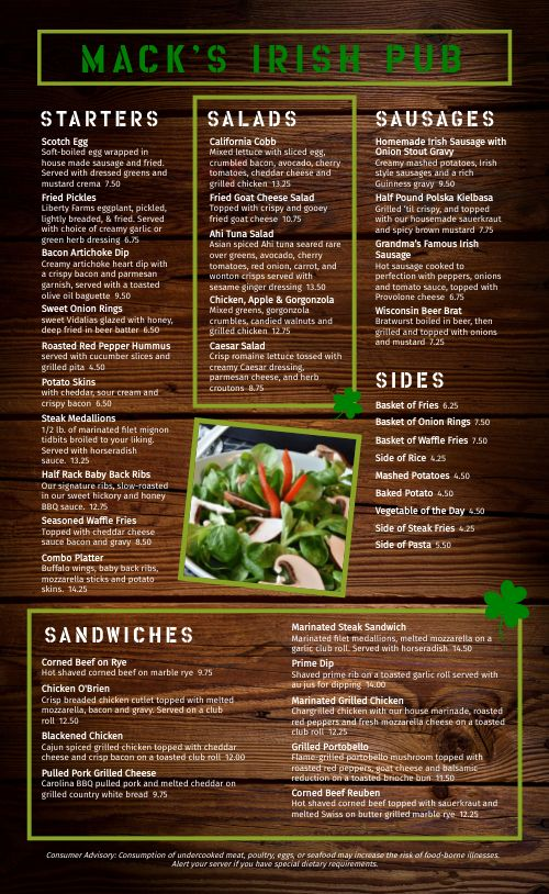 Wood Irish Menu