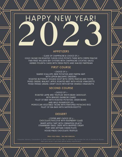 New Years Celebration Menu