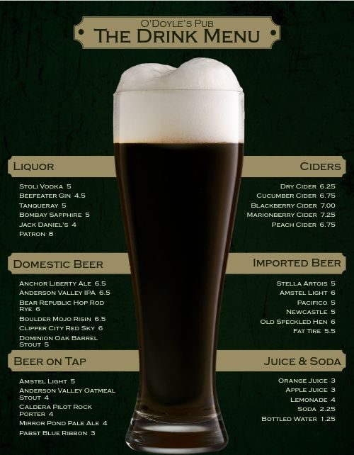 Irish Beer Bar Menu