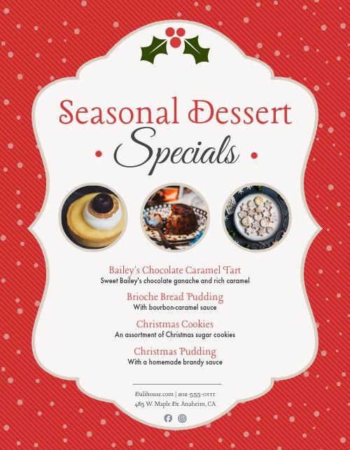 Seasonal Desserts Sign
