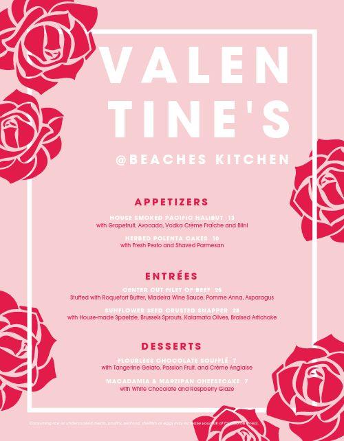 Valentines Specials Menu
