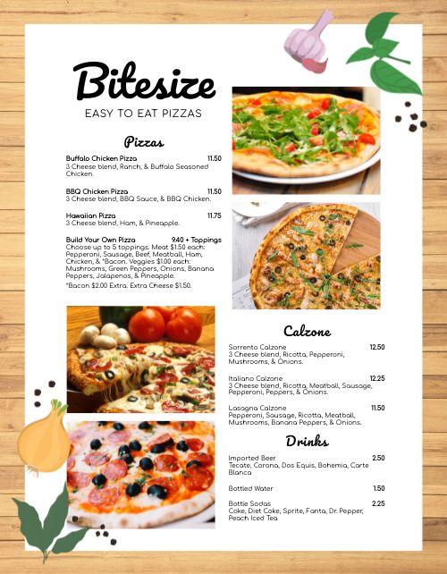 Pizzeria Cart Menu
